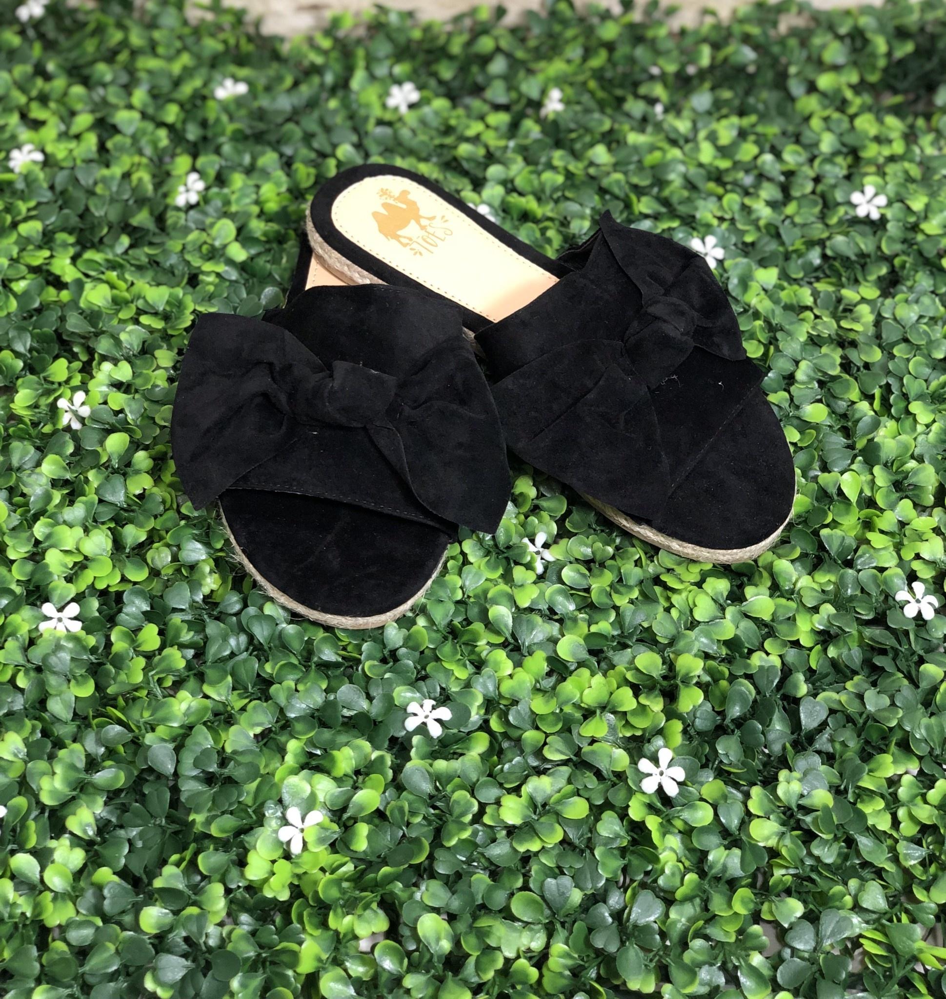 Black Bow Slide Sandal