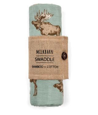 Milk Barn Kids Bamboo Swaddle Bow Tie Moose