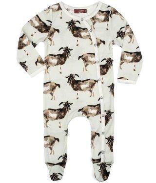 Milk Barn Kids Footed Romper Goat 6-9M