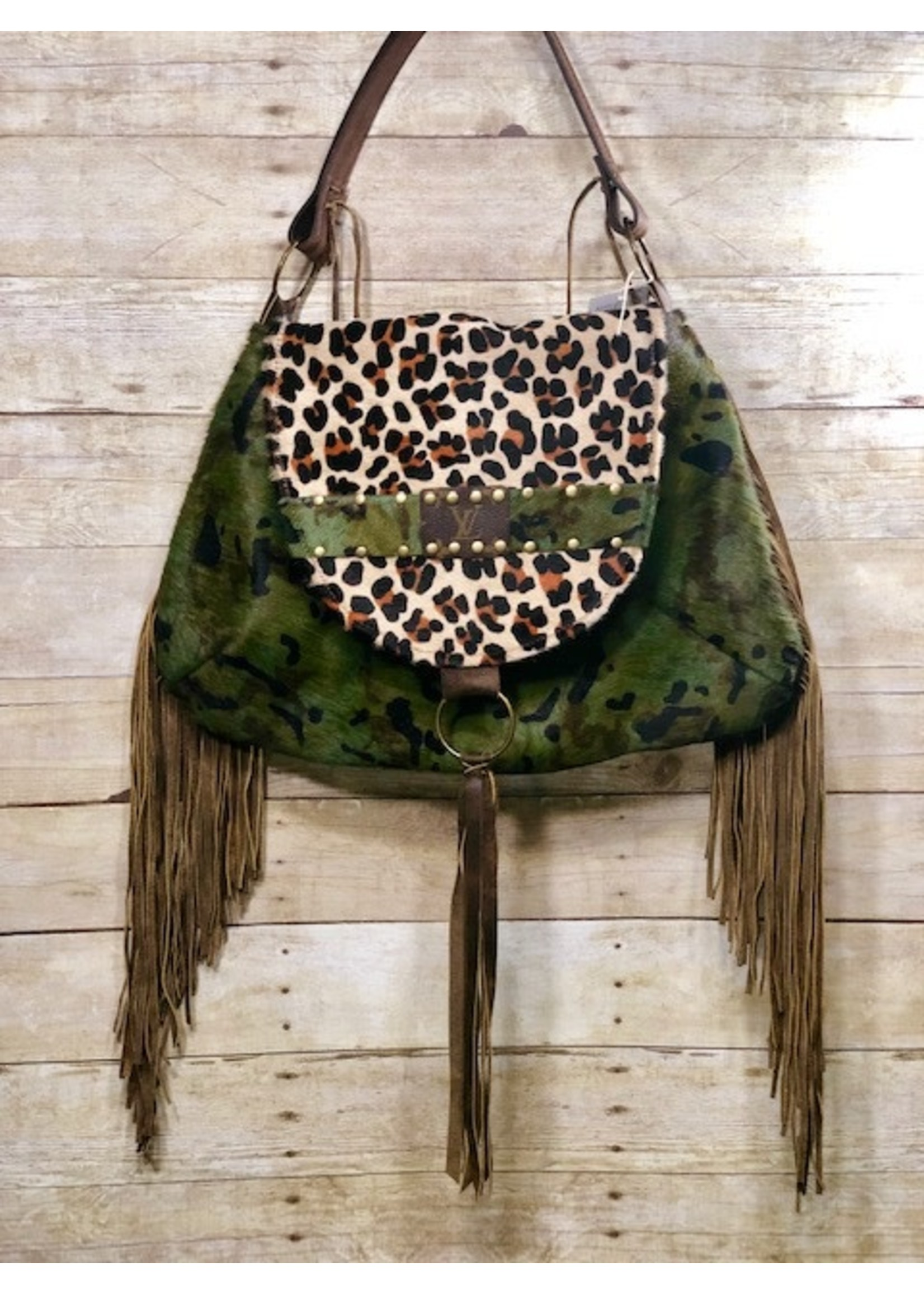Leather LV Camo and Leopard Saddle Bag