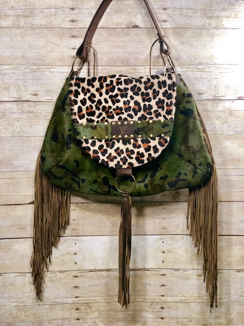 Leather LV Camo and Leopard Hide Saddle Bag