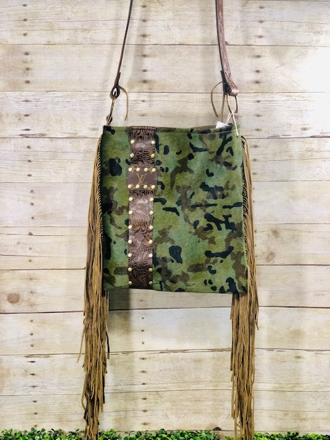 Leather LV Camo Hide Crossbody with Fringe