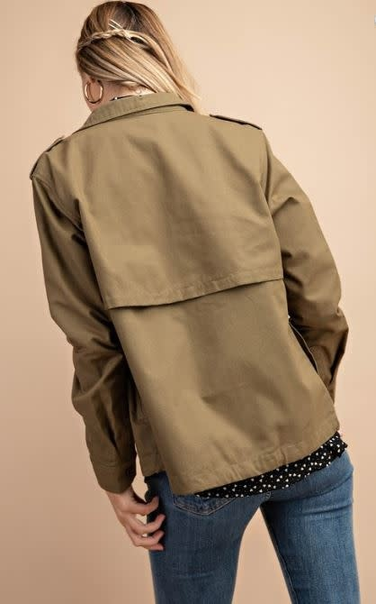 Embroidered Patch Olive Jacket