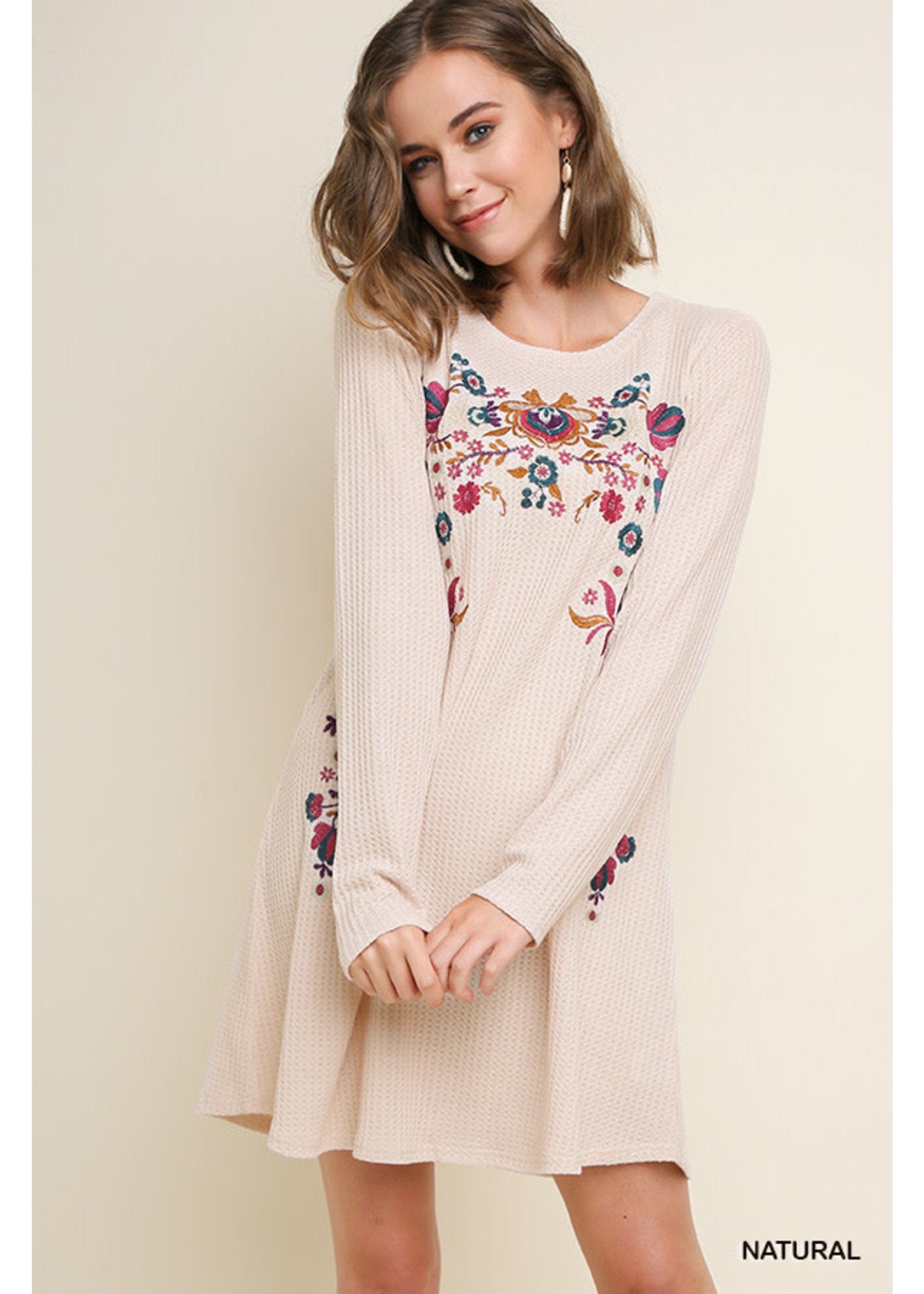 Floral Embroidered Waffle Knit Dress
