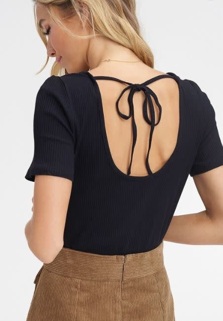 Black Ribbed Knit Top w/ Back Tie