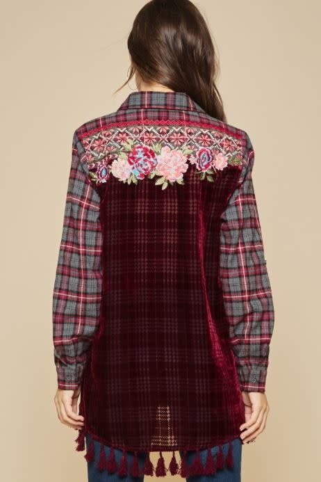 Burgundy Flannel Button Up w/ Velvet Back
