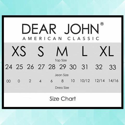 Dear John Size Chart