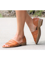 Tan Open Toe D'Orsay Flat