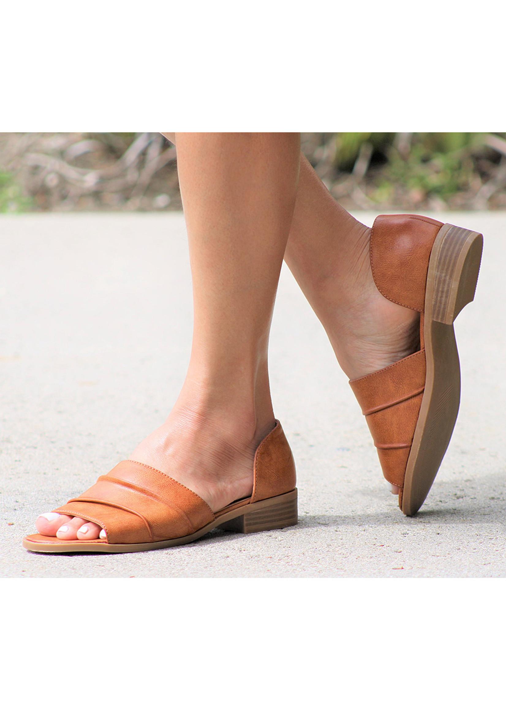 Tan Open Toe D'Orsay Flat