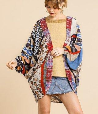 Mixed Print Short Kimono