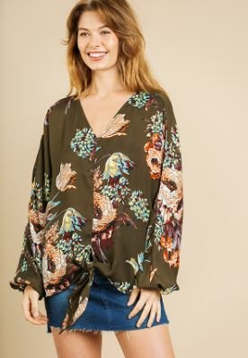 Olive Floral Puff Long-sleeve