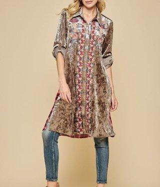 Velvet Embroidered Plaid Dress