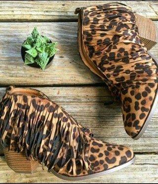Leopard Fringe Bootie