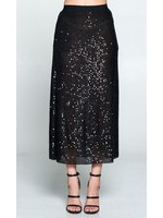Sequin Black Midi Skirt