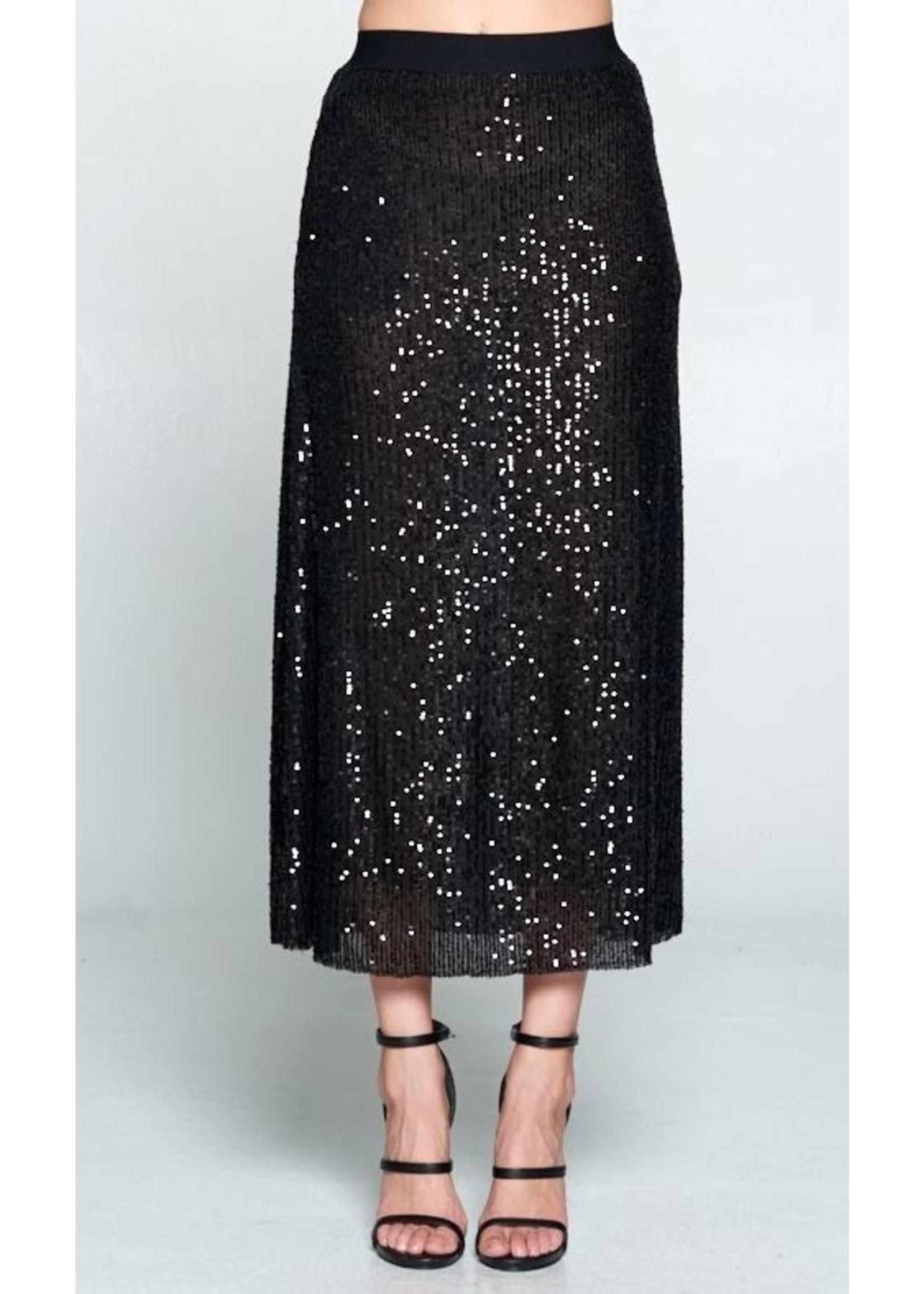 Sequin Black Midi Skirt