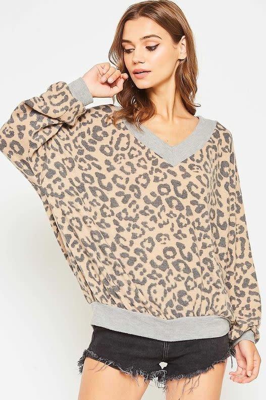 Leopard Fleece Pullover