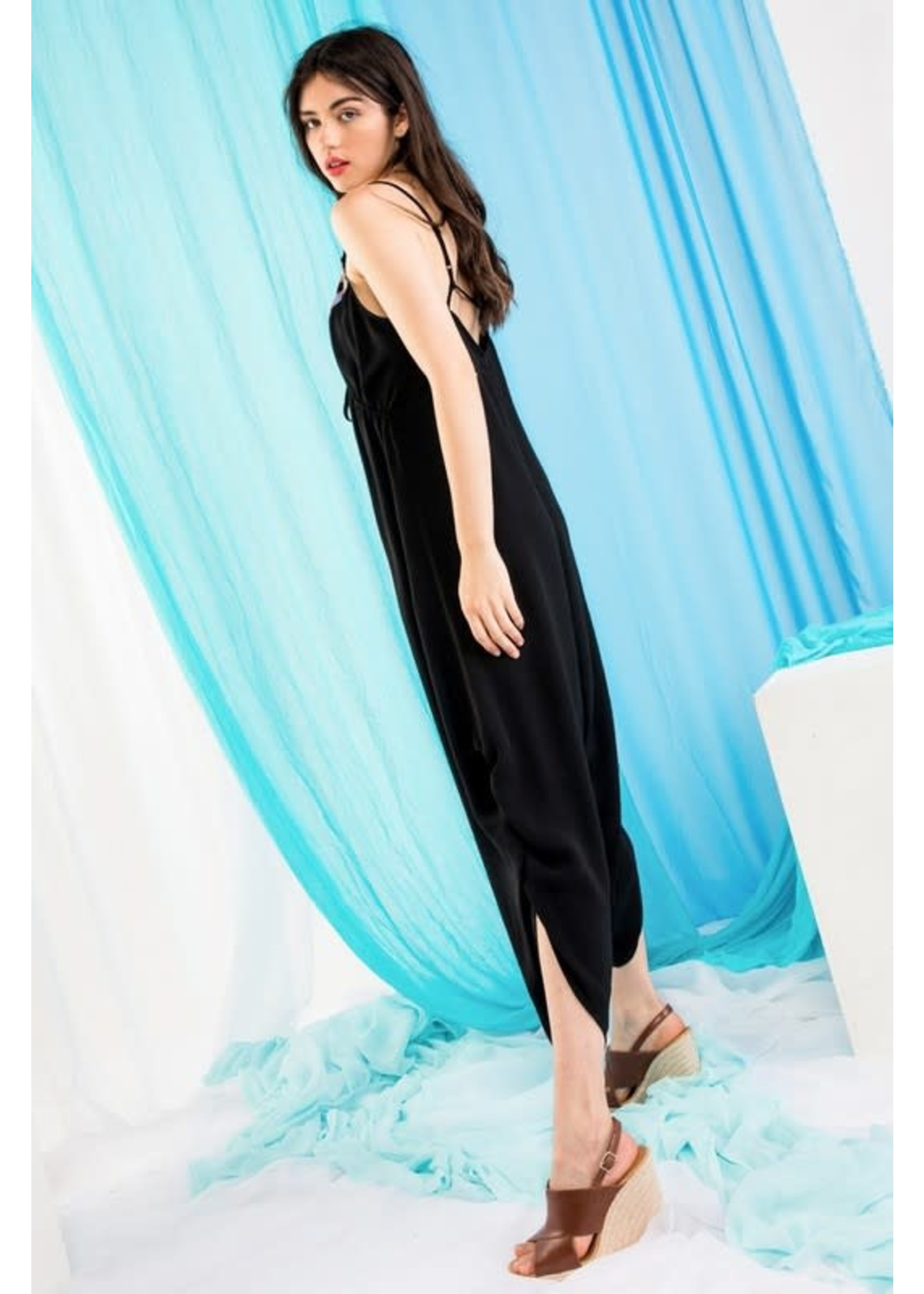 THML Black Embroidered Jumpsuit