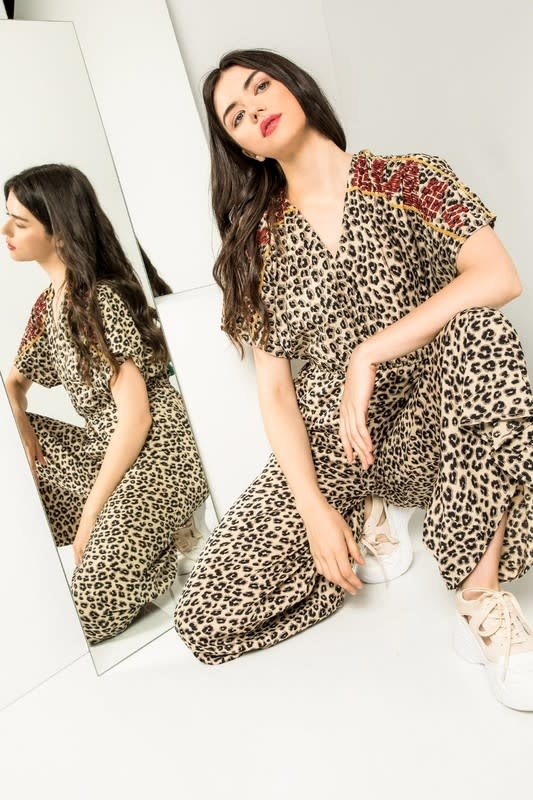 THML Leopard Embroidered Jumpsuit