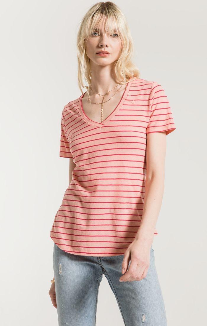 Yuma Stripe Linen V neck
