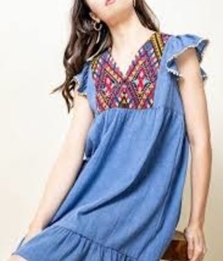 THML Blue Embroidered Flutter Dress