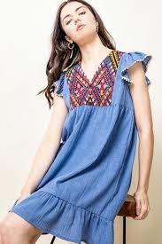 THML Blue Embroidered Flutter Dress
