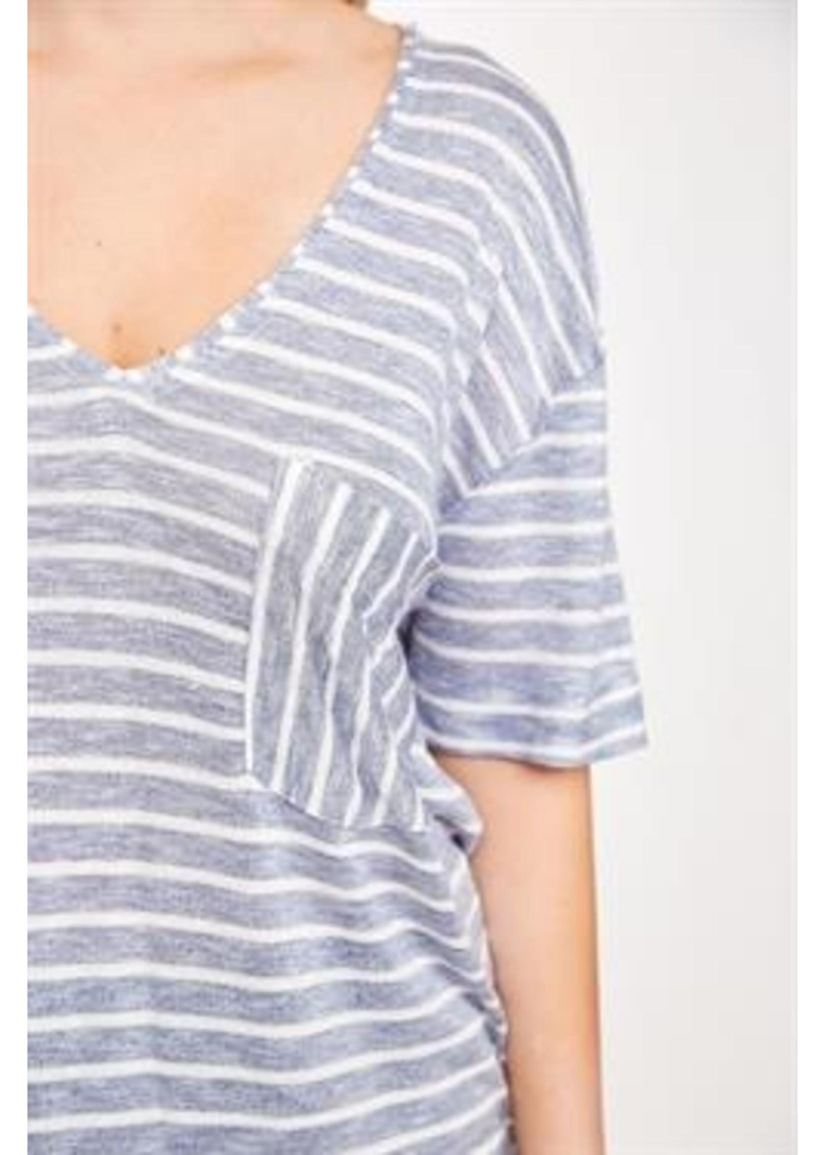 L Love Striped Pocket Tunic