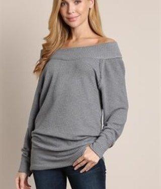 L Love Grey Off Shoulder Oversize Top