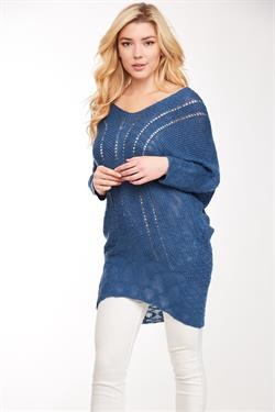 L Love Blue Sweater Tunic Top