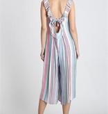 L Love Turquoise Striped Jumpsuit