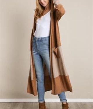 L Love Color Block Maxi Sweater Black/Camel