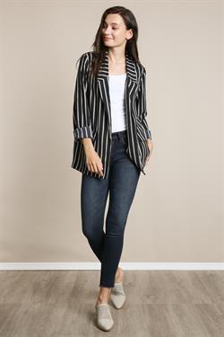 L Love Black Stripped Jacket