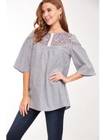 L Love Embroidered Flare Sleeve Top