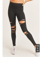 Mono B Distressed Black Highwaist Leggings