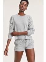 Mono B Heather Grey Long Sleeve Cropped Top