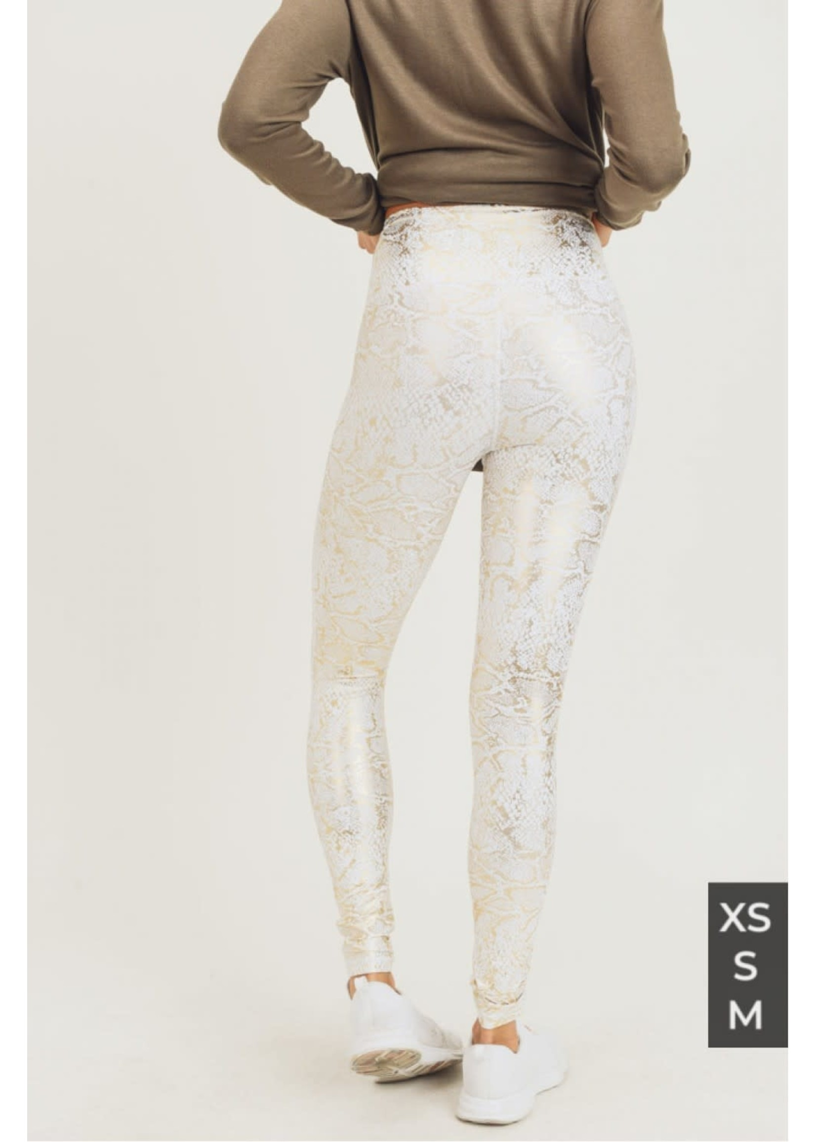 Mono B Gold and White Snakeskin Highwaist Leggings