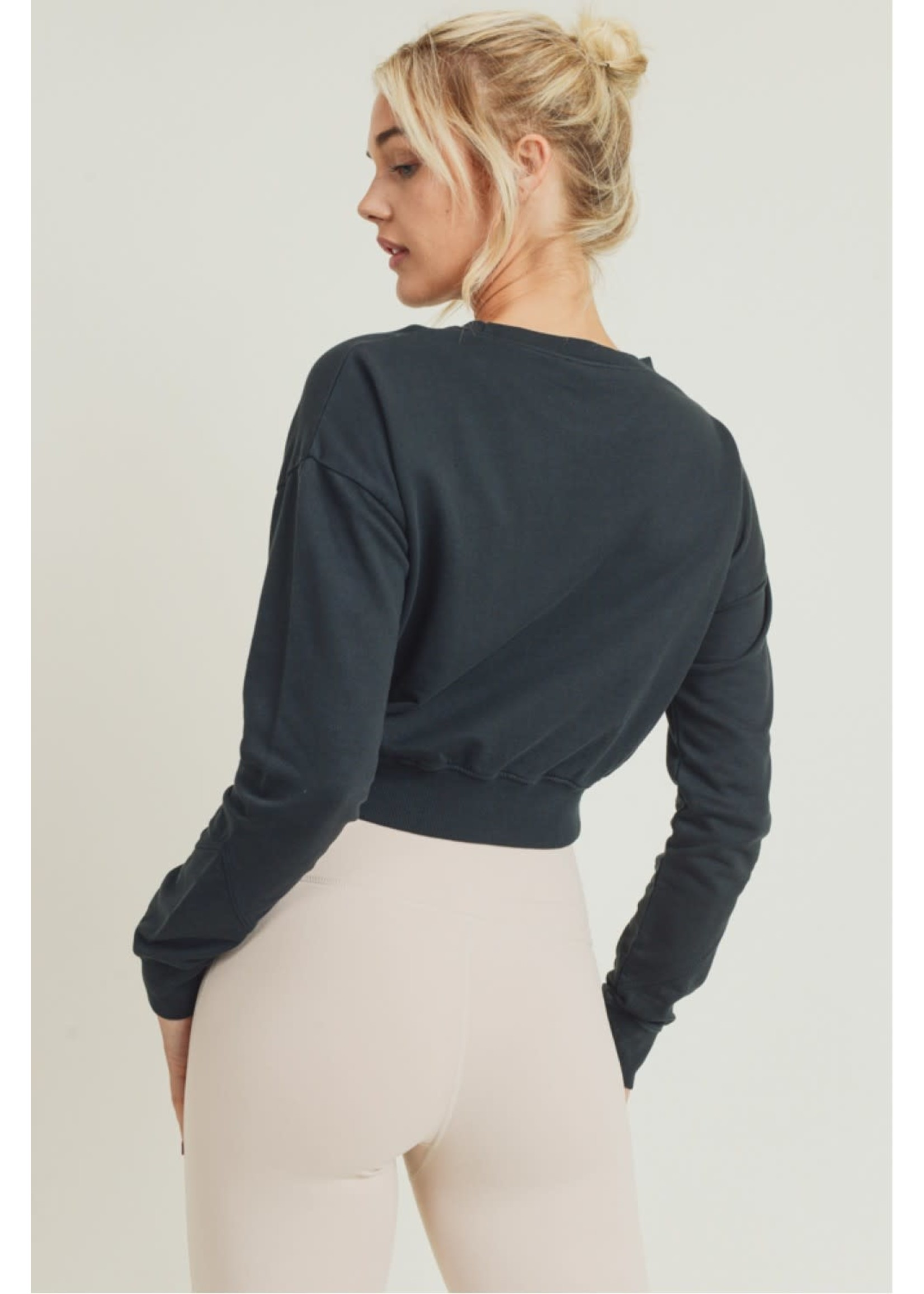 Mono B Twist-Front Terry Cotton Pullover-