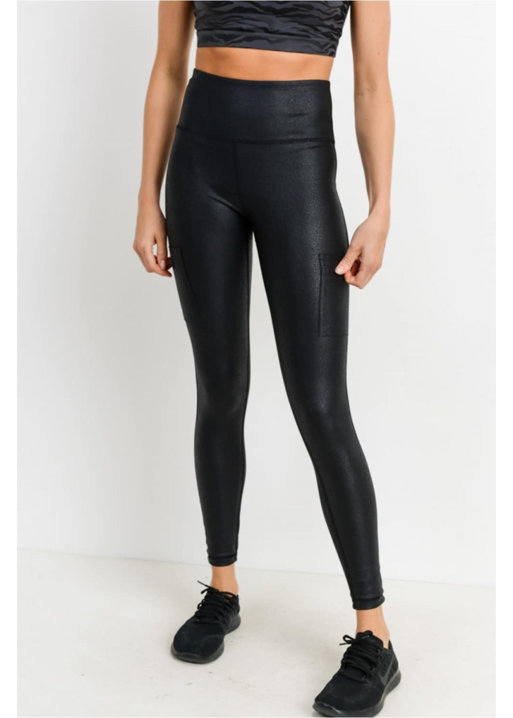 Mono B Triple Zippered pocket high waist foil legging