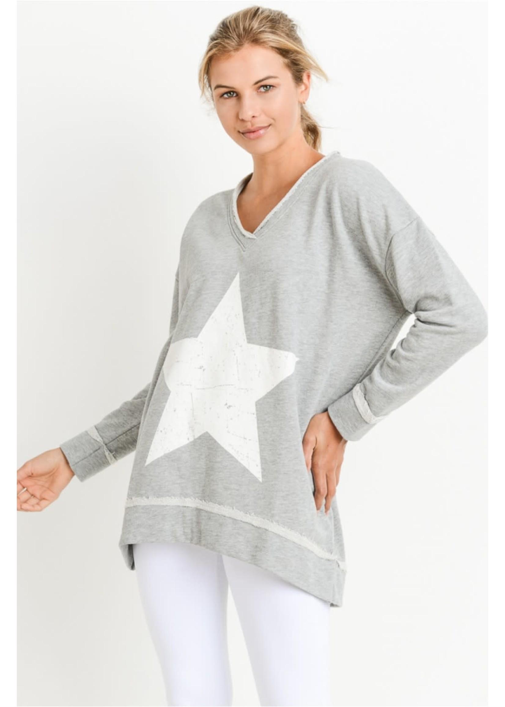 Mono B Antiqued Star V-Neck Sweatshirt