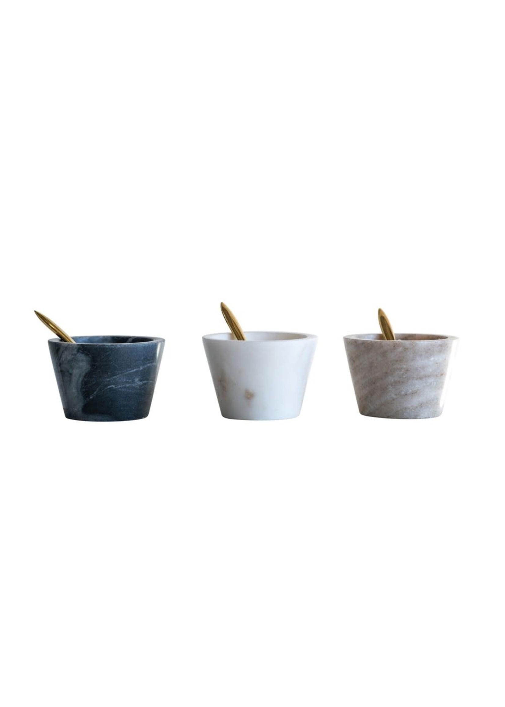 Marble bowls set of 3 W/antique spoon black/cream/sand