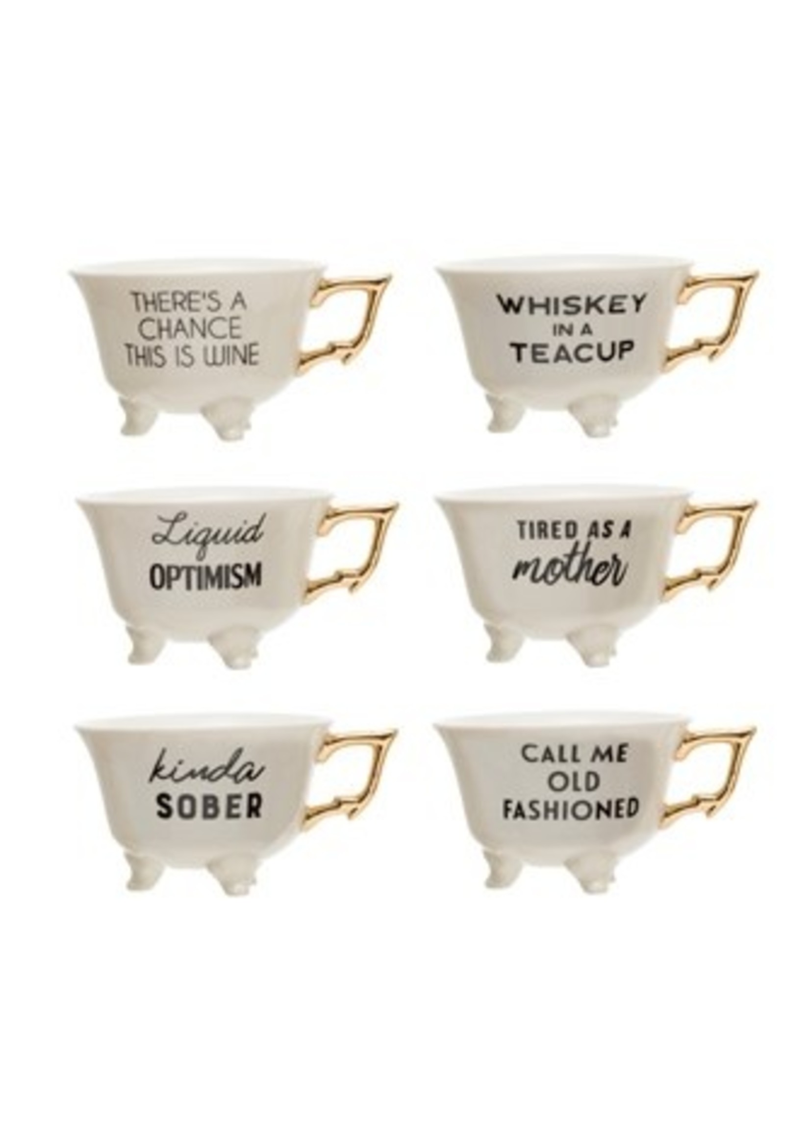 Footed Teacups-Sayings in gold