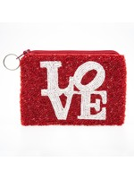 Beaded Love coin purse white/red beads