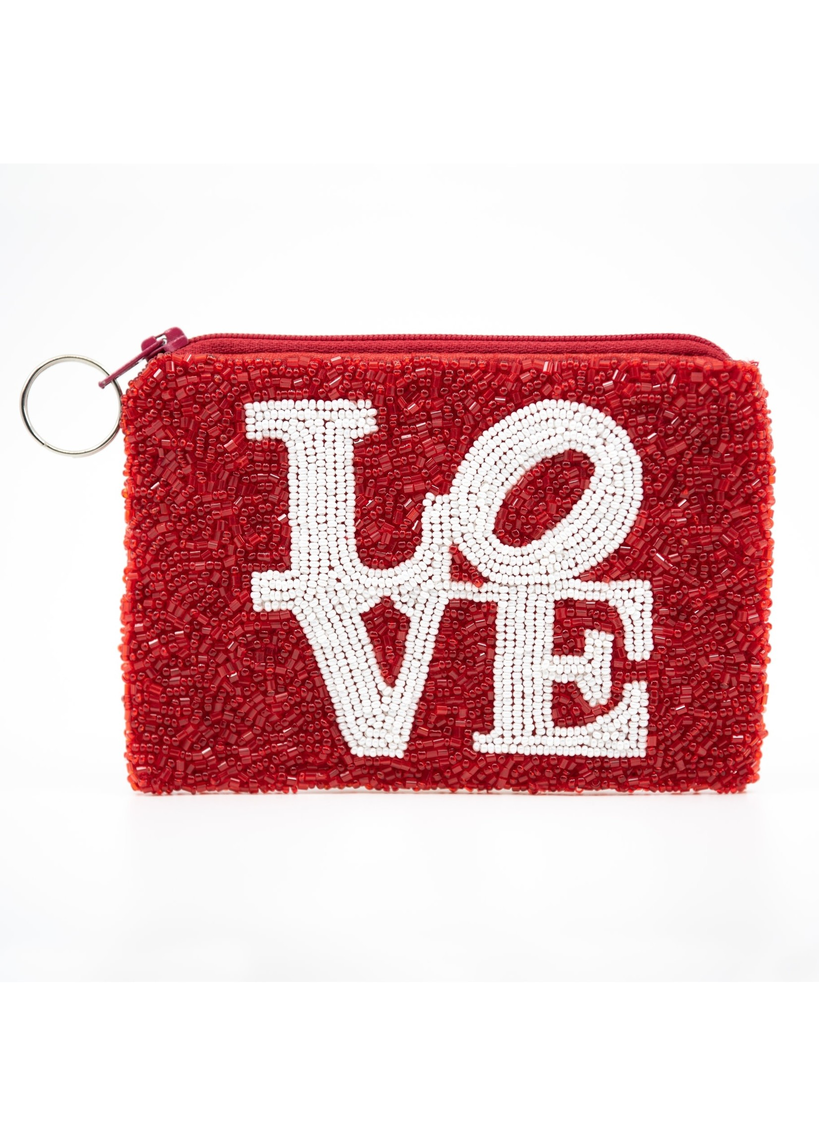 Love coin purse white on red