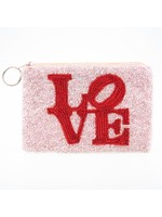 Tiana Beaded Love coin purse -Red/Soft Pink beads