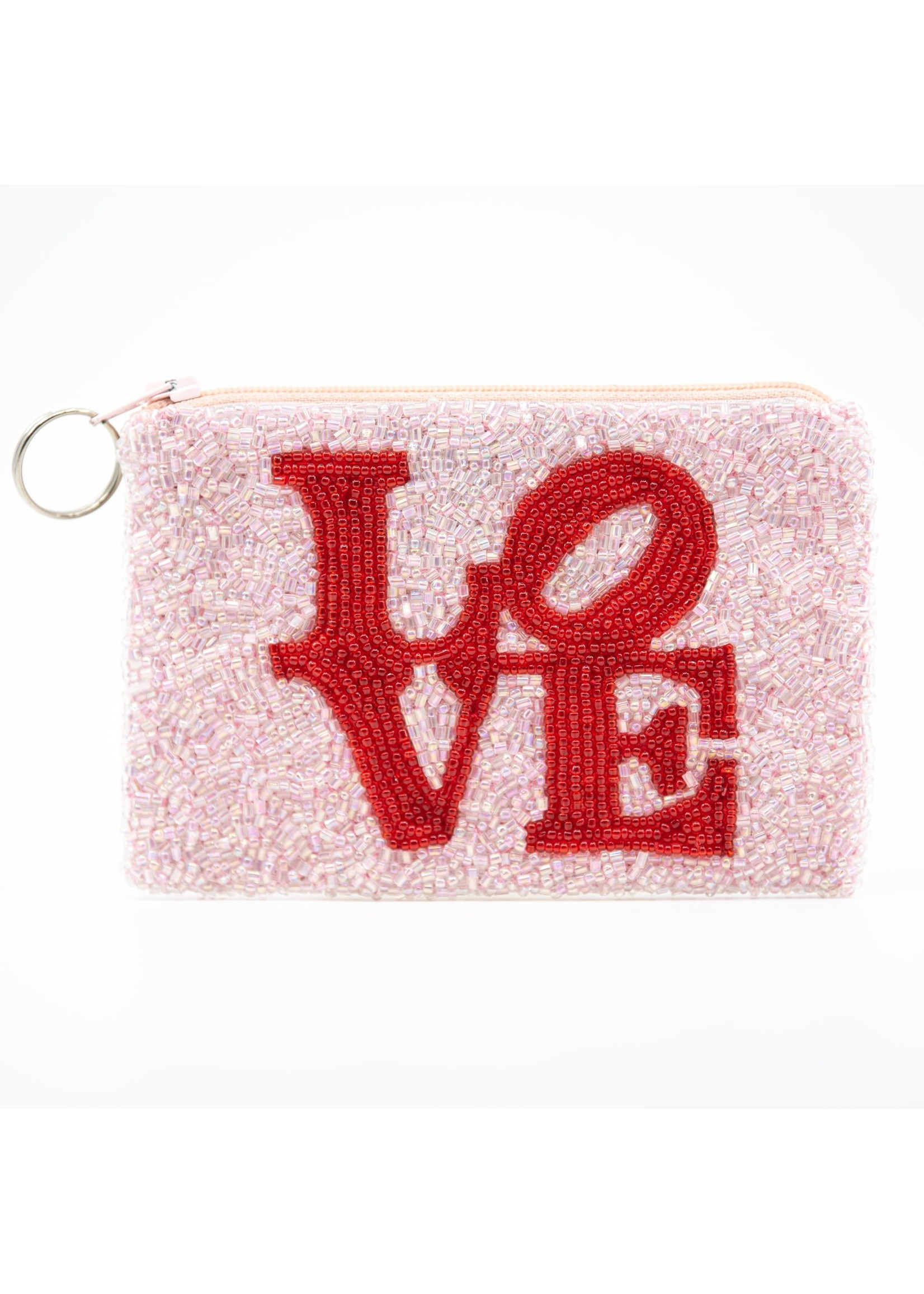 Tiana Love coin purse -Red on Soft Pink