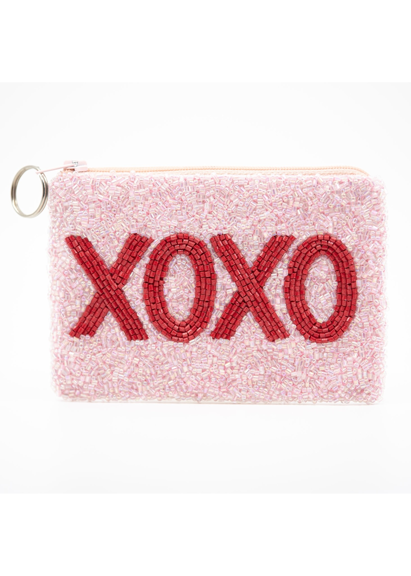 XOXO coin purse red on pink