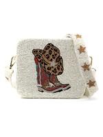 Cowboy Hat & Boots hand beaded Crossbody  Bag