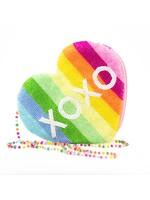 Heart  shaped beaded clutch XOXO-rainbow