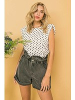 Flying Tomato Polka Dot Top-blk/white