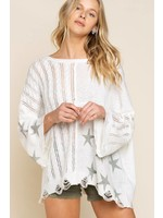 Pol Clothing Stars light weight spring sweater-cream