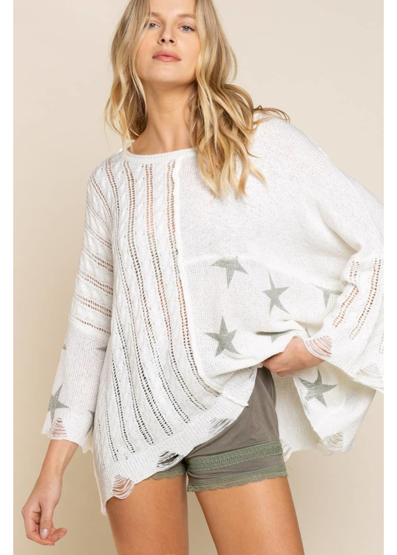 Pol Clothing Stars light weight spring sweater-cream